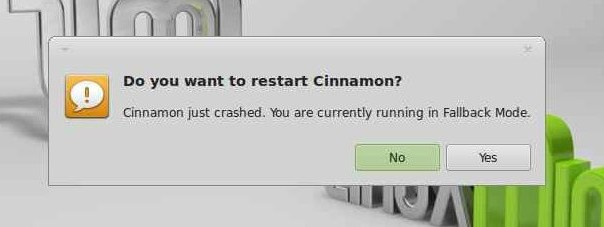 Do you want to restart Cinnamon ?