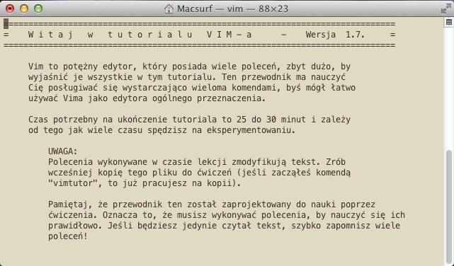 Vim Tutorial czyli Vimowski Samouczek
